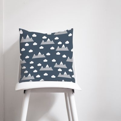 Navy blue clouds and mountains cushion