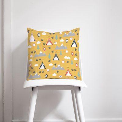 Yellow camping cushion