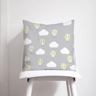 Grey and Lemon Hot Air Balloon Cushion