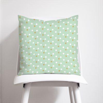 Mint & Gold spots cushion